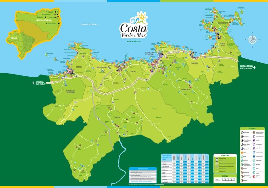 O mapa da Costa Verde & Mar traz todos os atrativos possíveis na região