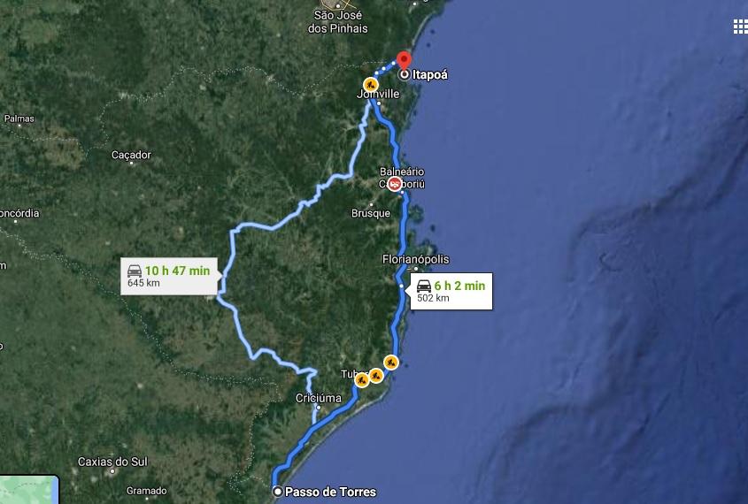 Mapa de Santa Catarina mostra que entre a primeira a última cidade do litoral são cerca de 6h