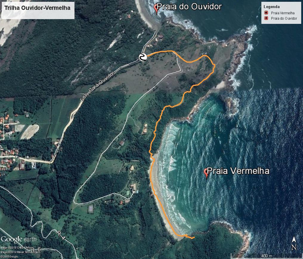 No mapa é possível ver uma trilha, algo a se fazer em Garopaba