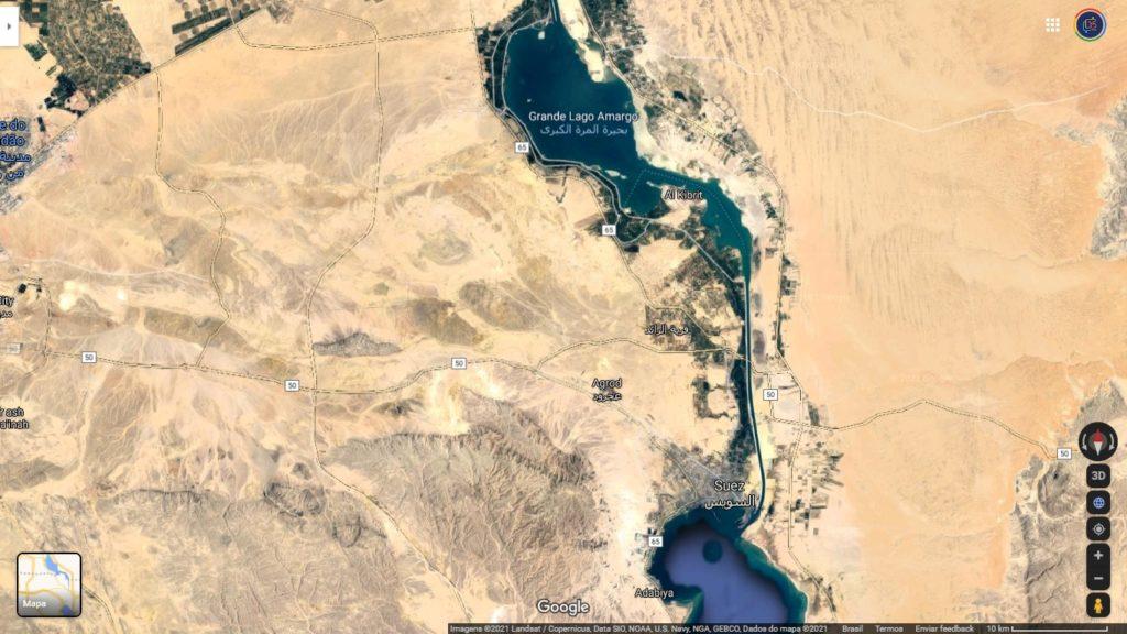 Mapa mostra onde fica o Canal de Suez